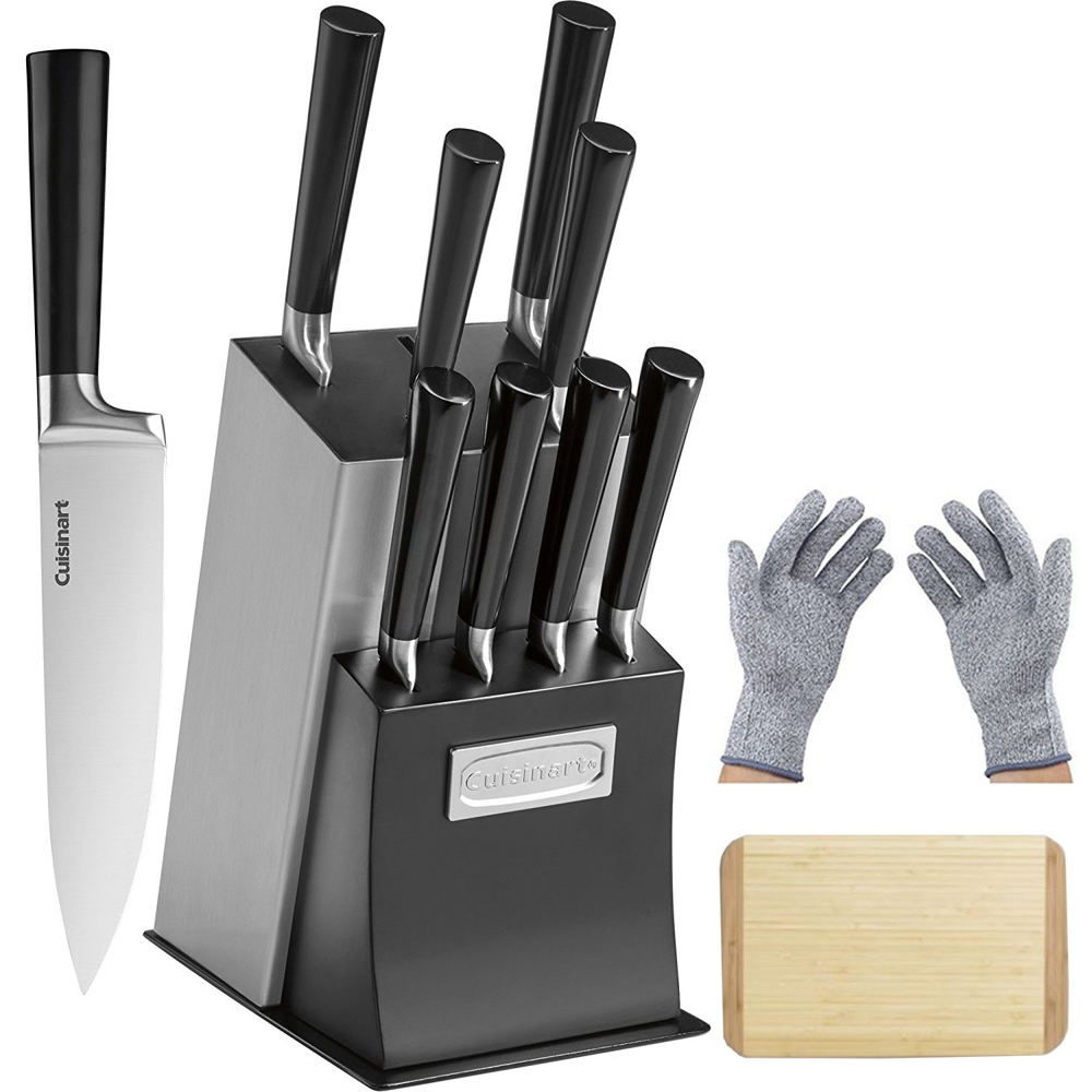 "Cuisinart 11-Piece Vetrano Collection Cutlery Knife Block Set Black (C77SSB-11P) with Deco Gear Safety Kitchen Cut Resistant Gloves & 14"" x 10"" inch Bamboo Cutting Board"