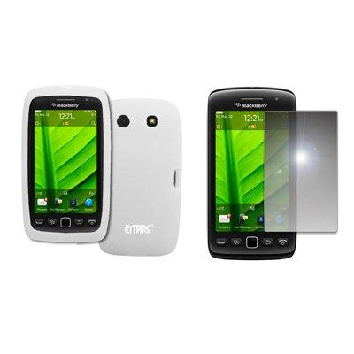 EMPIRE White Silicone Skin Case Cover + Mirror Screen Protector for BlackBerry Torch 9850 ()