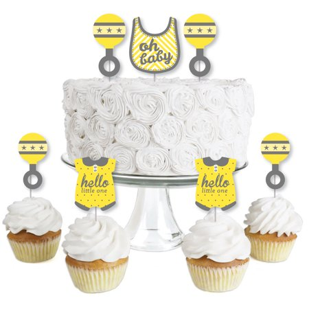 Hello Little One - Yellow and Gray - Dessert Cupcake Toppers - Neutral Baby Shower Clear Treat Picks - Set of 24 - Yellow And Grey Cupcake Liners