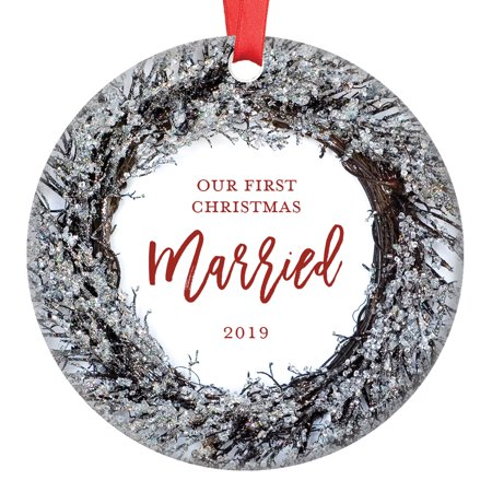 Our First Christmas Married Ornament 2019, Husband & Wife Couple Just Married Newlywed Wedding Present 1st Xmas Winter Holiday Ceramic 3