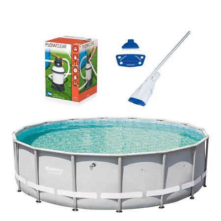 Bestway 16ft x 48in Pool w/ Flowclear Sand Filter Pump & Aqua Powercell (Best Way To Protect Assets)