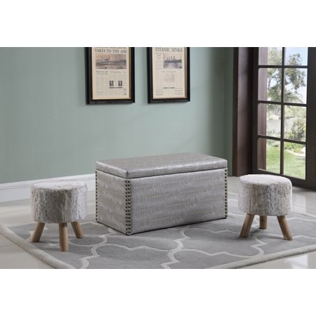 Best Quality Furniture Storage Ottoman w/ 2 Stools White or Gray