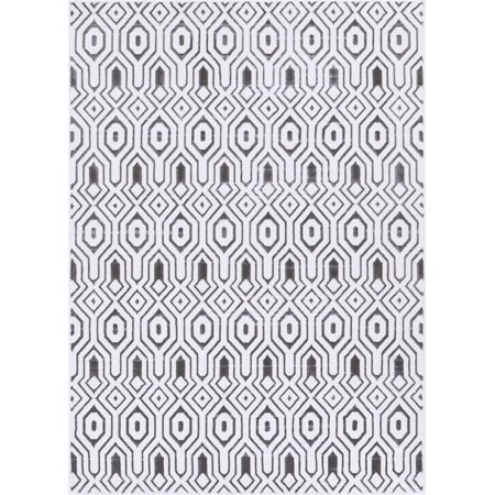 Well Woven Siggi Graceful Modern Abstract Tile Work Grey 5'3