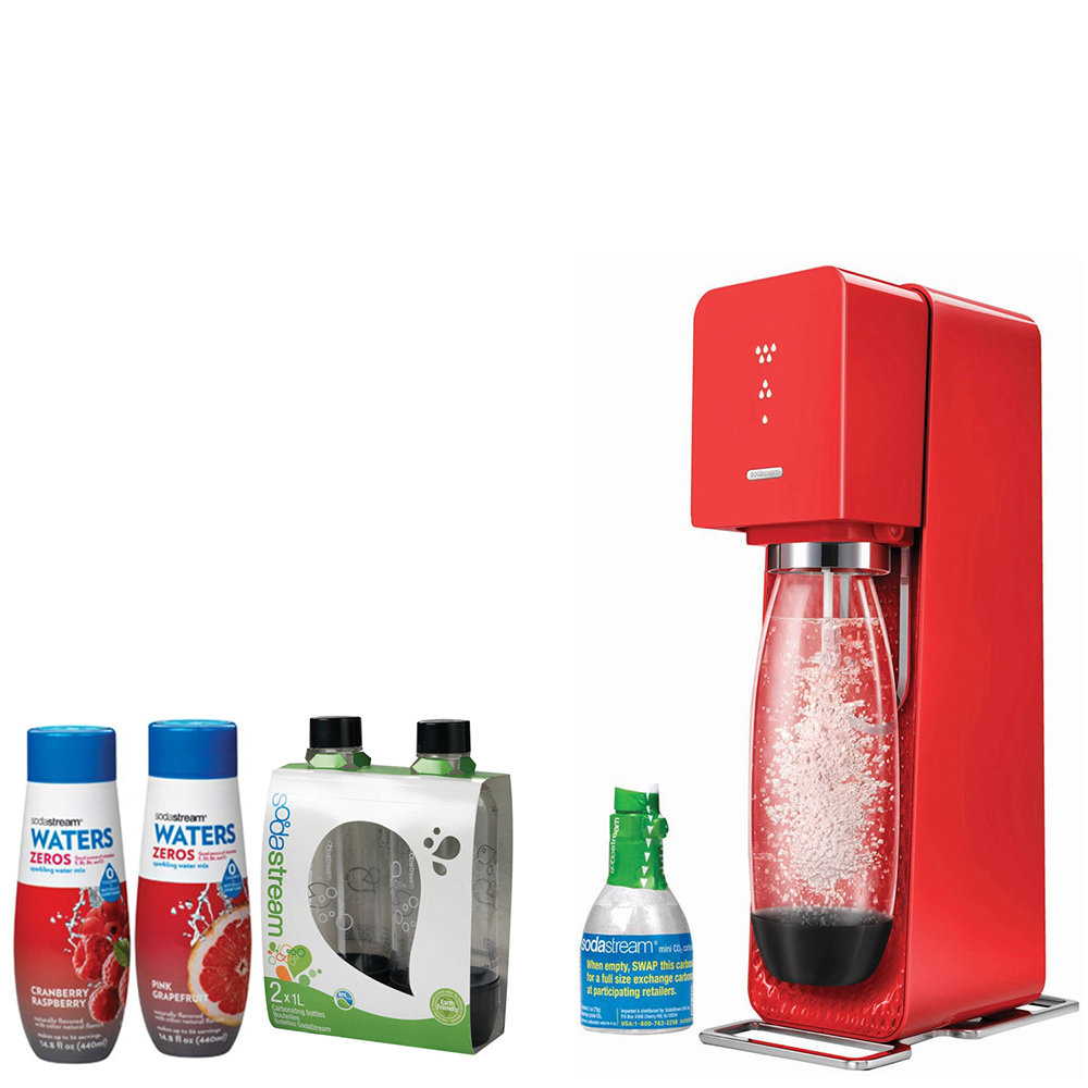 SodaStream Source Home Soda Maker Starter Kit, Red, 1L Carbonating Bottles Black, Waters Zeros w/ 2 flavor Pink Grapefruit & Cranberry Raspberry zero calorie