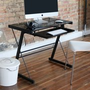 Glass Top Black Computer Desk with Pull-Out Keyboard Tray by Manor Park