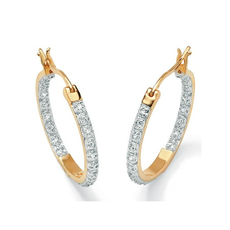 "1/10 TCW Round Diamond Accented Inside-Out Hoop Earrings in 18k Gold over Sterling Silver (1"")"