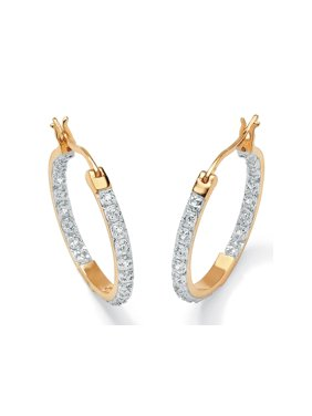 d0266e493 Product Image 1/10 TCW Round Diamond Accented Inside-Out Hoop Earrings in  18k Gold over. Palm Beach Jewelry