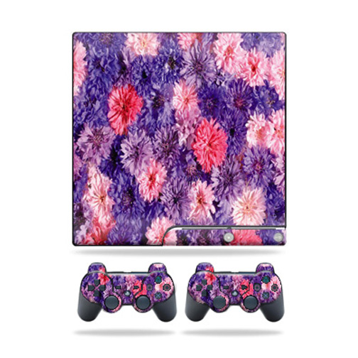Skin Decal for Sony Playstation 3 PS3 Slim + 2 controllers Purple Flowers