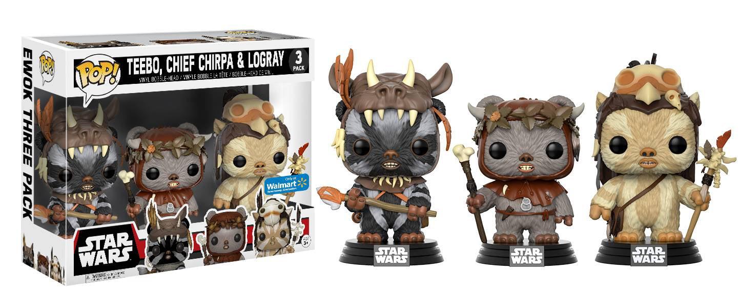 Funko POP! Movies: Star Wars - Ewok 3 Pack - Teebo, Chirpa, Logray - Walmart Exclusive