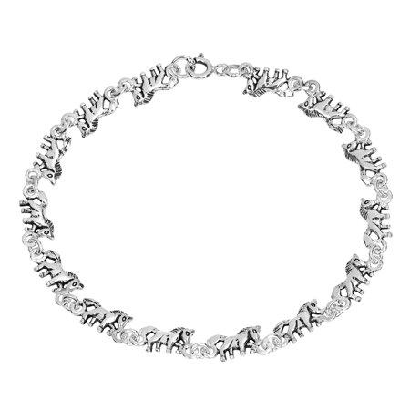Cute & Majestic Unicorns Sterling Silver Linked Chain Bracelet (Unicorn Bracelet)