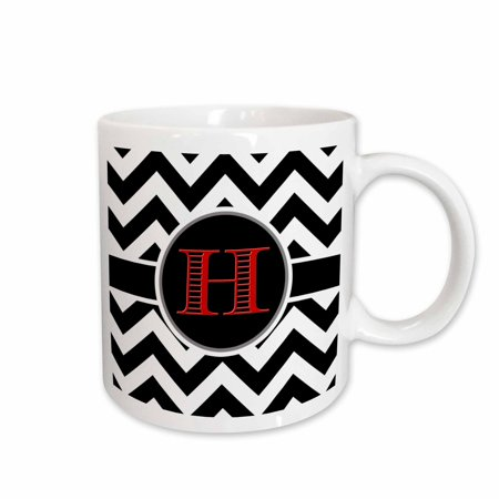 3dRose Black and white chevron monogram red initial H - Ceramic Mug,