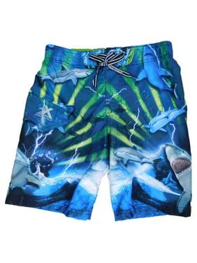 Boys Blue/Green Great White Shark Cargo Swim Trunks Board Shorts