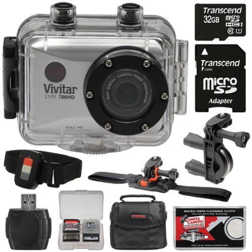 Vivitar DVR786HD 1080p HD Waterproof Action Video Camera Camcorder (Silver) & Remote, Vented Helmet & Handlebar Bike Mounts + 32GB Card + Case + Kit