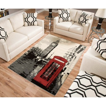 Terra London Rectangle Area Rug Black White Red