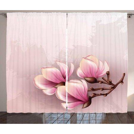 Magnolia Curtains 2 Panels Set Fragile Petals Of Magnolia Flower