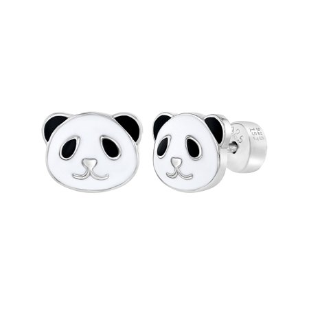 925 Sterling Silver Enamel Bear Panda Earrings Safety Back Studs for Girls