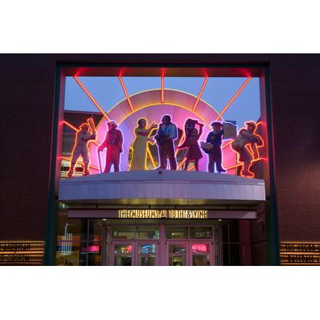 Kansas City Museum Halloween (Facade of a museum lit up at dusk American Jazz Museum Kansas City Missouri USA Poster)