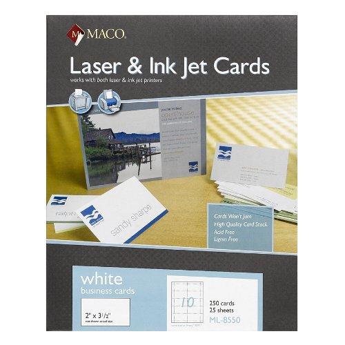 "Maco Business Card For Inkjet Print 3 50"" X 2"" 250"
