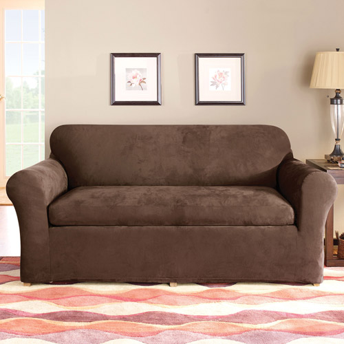 Sure Fit Stretch Suede 3Piece Sofa Slipcover Walmartcom
