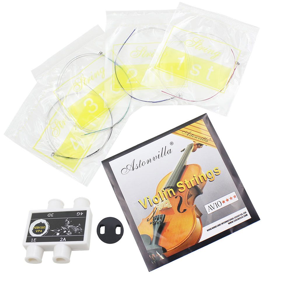 HAOFY 3 in 1 Violin Strings Rubber Mute Tuner Accessories Kit, Violin Mute,Violin String by