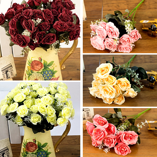 Girl12Queen 1Bouquet/12Heads European Style Room Decor Romantic French Artificial Rose Flowers
