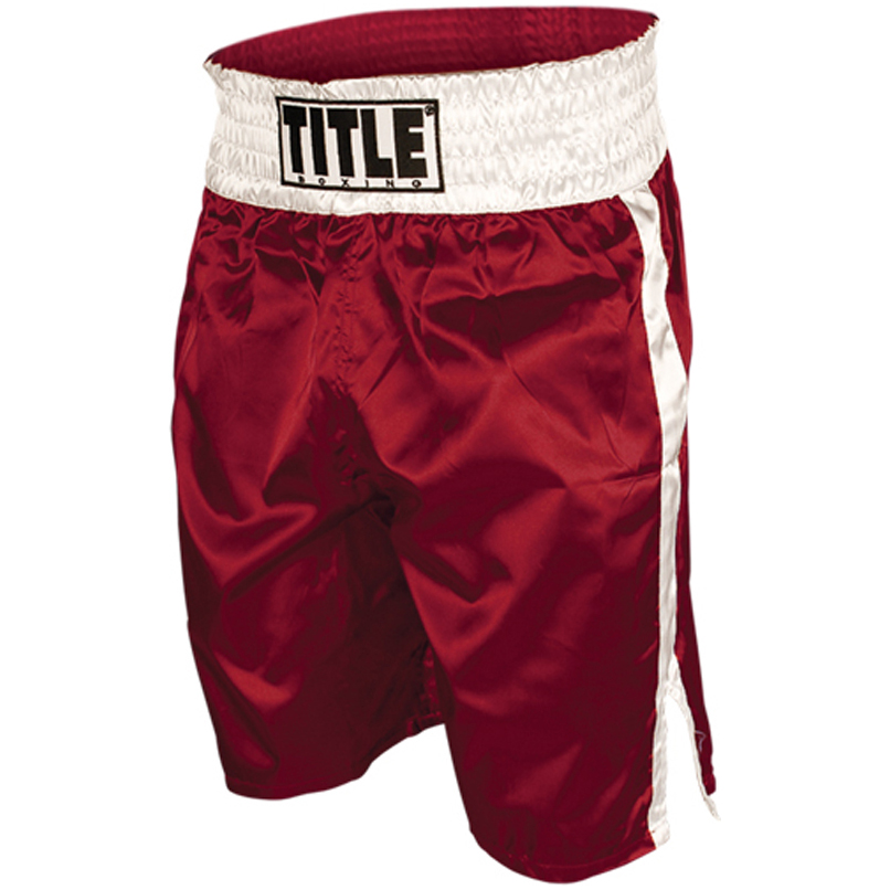Title Professional Boxing Trunks - Red/White