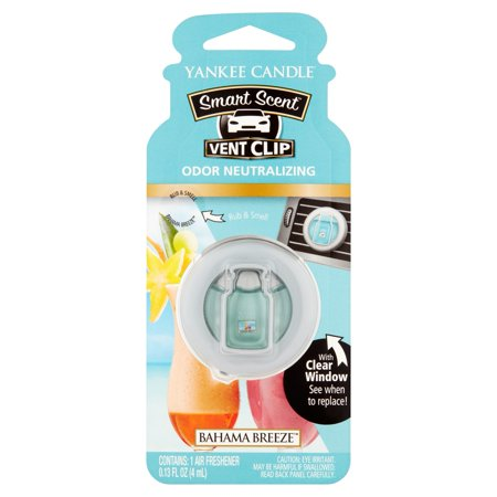 Yankee Candle Smart Scent Vent Clip Bahama Breeze Odor Neutralizing Air Freshener, 0.13 fl oz