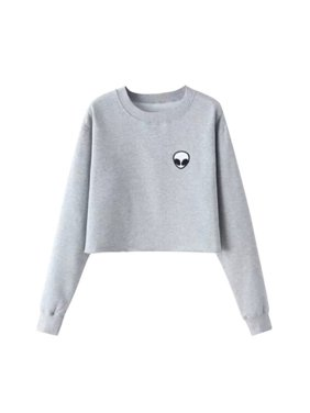MarinaVida Women's Alien Printed Long Sleeve T-shirt Pullover Sweatshirt Tops