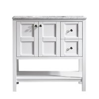 "Florence 36"" Vanity in White with Carrara White Marble Countertop without Mirror"