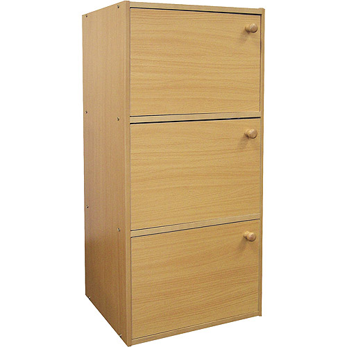 Closed Door 3-Shelf Bookcase, Natural