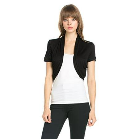 Fashion Secrets Women's Pleated Sides Short Sleeves Rayon Bolero Shrug Cardigan (Large, Black)