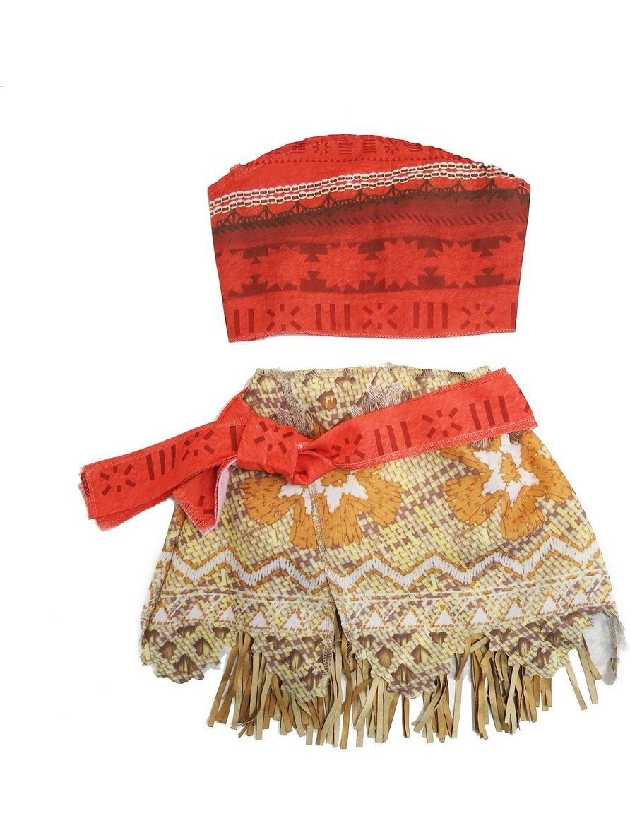 Wenchoice Girls Orange Tan Moana Inspired 2 Piece Dress