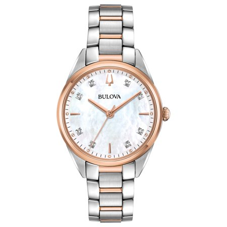 Bulova Women's Two-Tone Diamond Watch, Mother of Pearl Dial