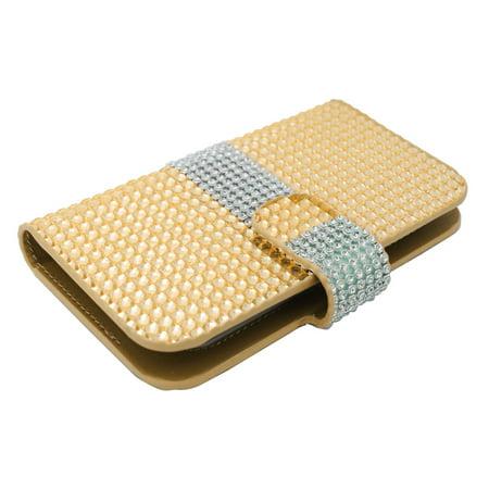 Insten Flip Leather Case For BlackBerry Z10,HTC Desire 520,LG Leon/Tribute 2,Nokia Lumia 1020/630/635/928,Galaxy Avant/Core Prime/J1/S2/S4 Mini/S5 Mini,ZTE Fanfare/Maven/Obsidian/Overture 2 - Gold - image 3 of 4