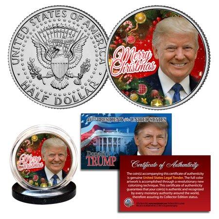 DONALD TRUMP Genuine XMAS Merry Christmas JFK Kennedy Half Dollar U.S. Coin