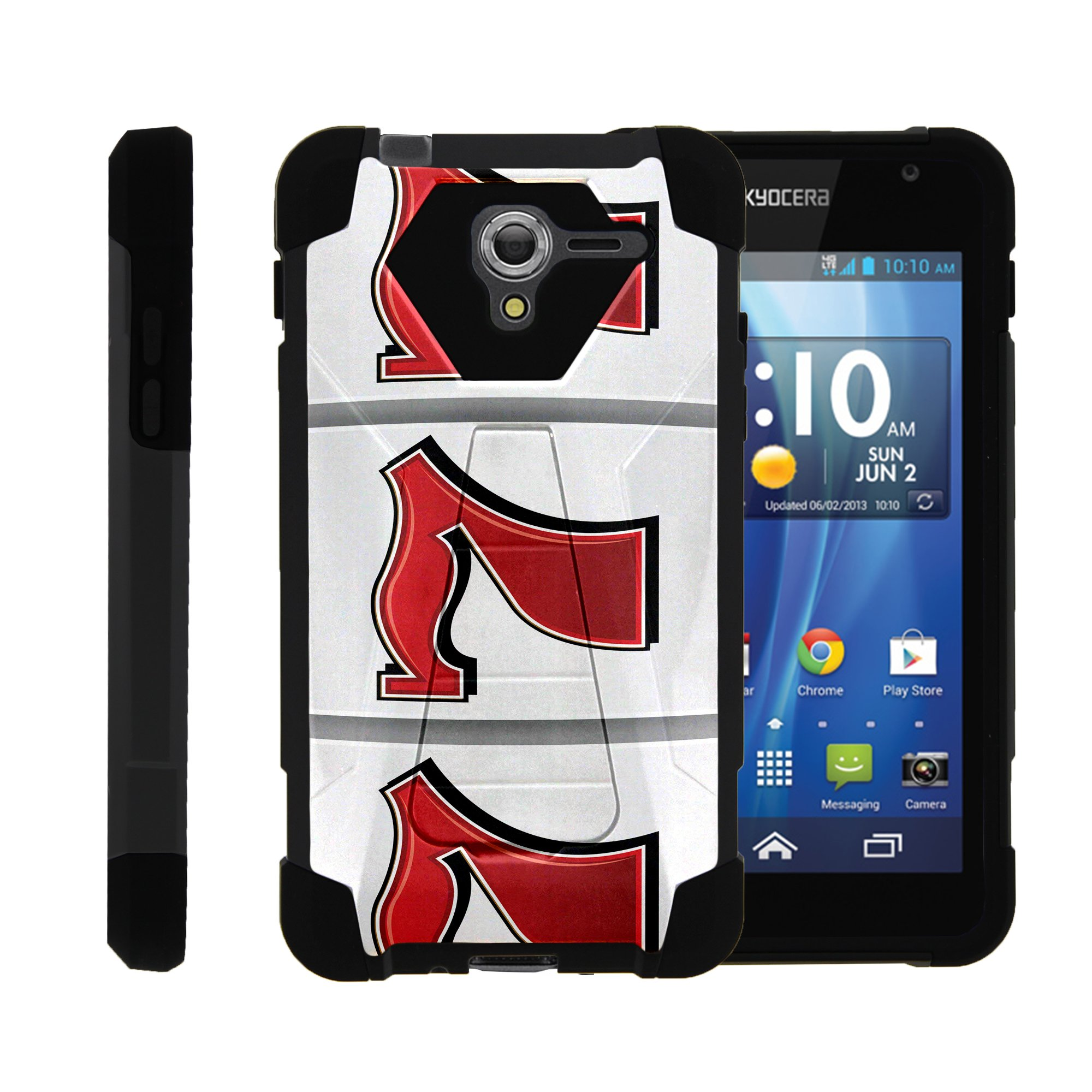 TurtleArmor ® | For Kyocera Hydro View | Hydro Reach | Hydro Shore [Dynamic Shell] Dual Layer Hybrid Silicone Hard Shell Kickstand Case - Lucky 777