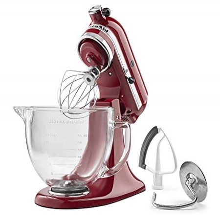 - KitchenAid KSM105GBCER 5-Qt. Tilt-Head Stand Mixer with Glass Bowl and Flex Edge Beater - Empire Red