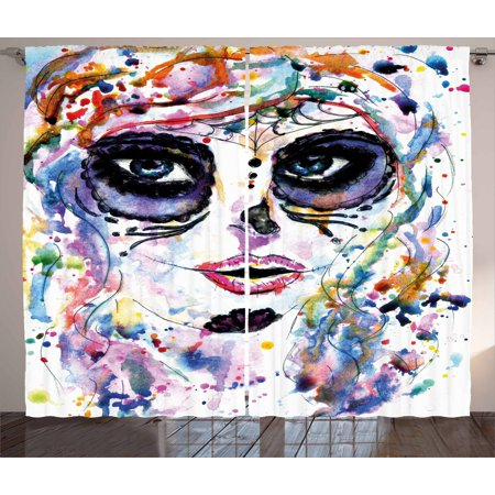 Sugar Skull Decor Curtains 2 Panels Set, Halloween Girl with Sugar Skull Makeup Watercolor Painting Style Creepy, Window Drapes for Living Room Bedroom, 108W X 84L Inches, Multicolor, by Ambesonne (Halloween Window Paintings)