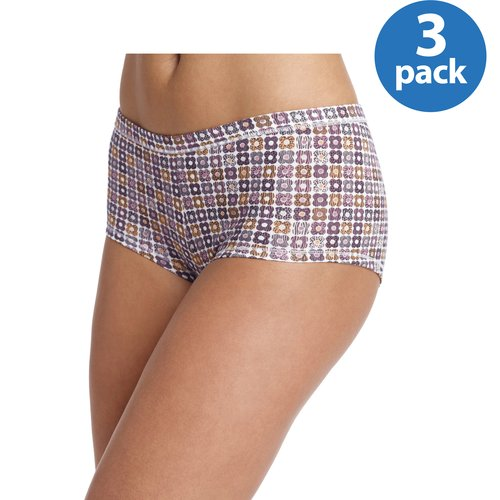Hanes - Women's ComfortSoft Waistband Cotton Stretch Boy Shorts, 3-Pack