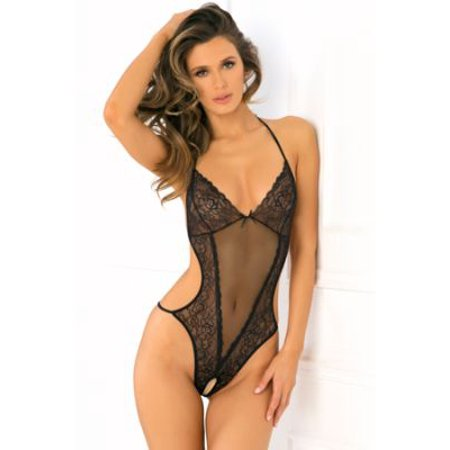 Black Mesh Teddy (Crotchless Mesh and Lace)
