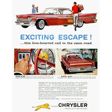 Chrysler Ad 1959 Nchrysler Automobile Advertisment From An American Magazine 1959 Rolled Canvas Art     24 X 36