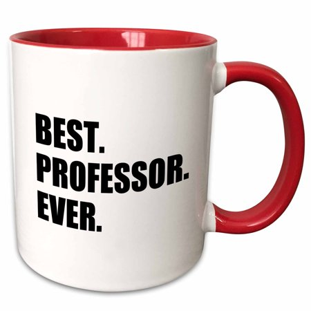 3dRose Best Professor Ever, gift for inspiring college university lecturers - Two Tone Red Mug,