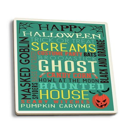 Happy Halloween - Typography with Pumpkin - Lantern Press Artwork (Set of 4 Ceramic Coasters - Cork-backed, Absorbent) - Best Halloween Pumpkins To Grow