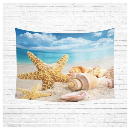 PHFZK Wall Art Home Decor, Starfish and Seashells on the Beach with Blue Sky Tapestry Wall Hanging 60 X 80 Inches