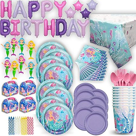 Mermaid Under the Sea Birthday Party Ultimate 8 Guest Set - Small and Large Plates, Cups, Napkins, Tablecover, Cutlery, Foil Balloon HAPPY BIRTHDAY Banner, Favor Boxes, Mini Bendable Dolls, Candles - Under The Sea Quinceanera Ideas
