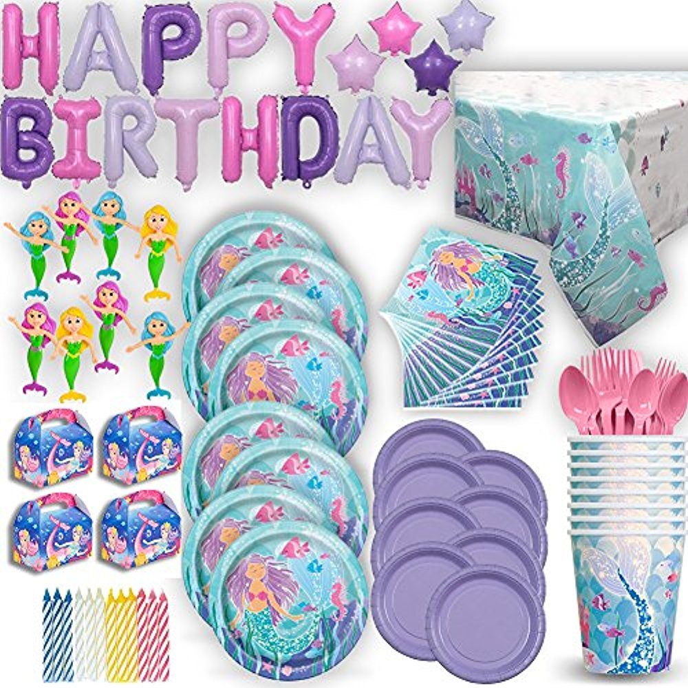 Mermaid Under the Sea Birthday Party Ultimate 8 Guest Set - Small and Large Plates, Cups, Napkins, Tablecover, Cutlery, Foil Balloon HAPPY BIRTHDAY Banner, Favor Boxes, Mini Bendable Dolls, Candles