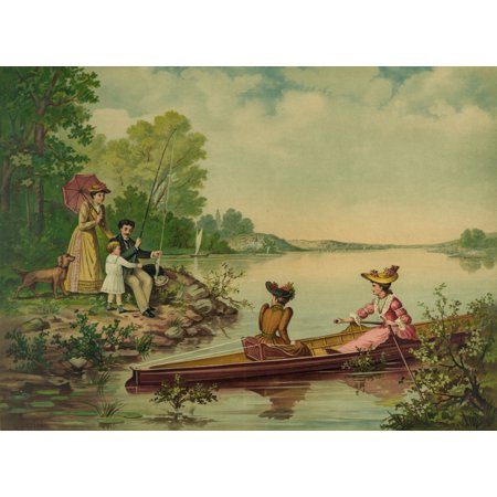 Father catches a fish to the delight of a child as dog watches on and a couple Victorian Girls pass by on a row boat Poster