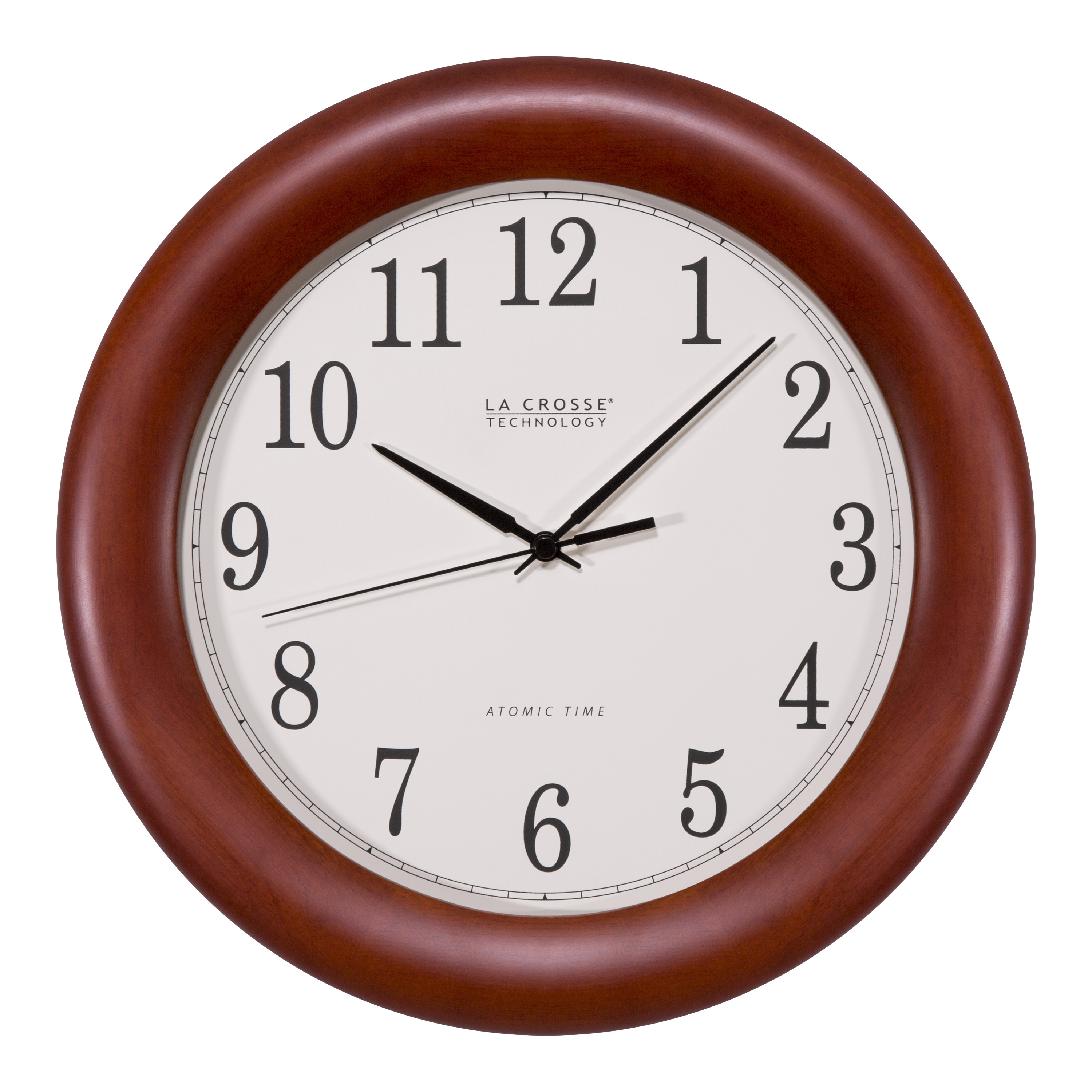 La Crosse Technology Ltd. La Crosse Technology 12 Cherry Wood Atomic Analog Clock, Red