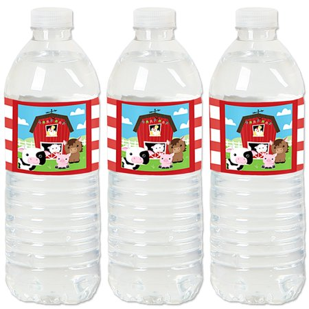 Farm Animals - Barnyard Baby Shower or Birthday Party Water Bottle Sticker Labels - Set of 20