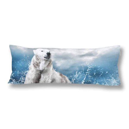 ABPHOTO White Polar Bear Hunter Body Pillow Covers Pillowcase 20x60 inch Ice in Water Drops Body Pillow Case Protector ()